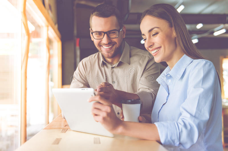 Business couple working together stock image
