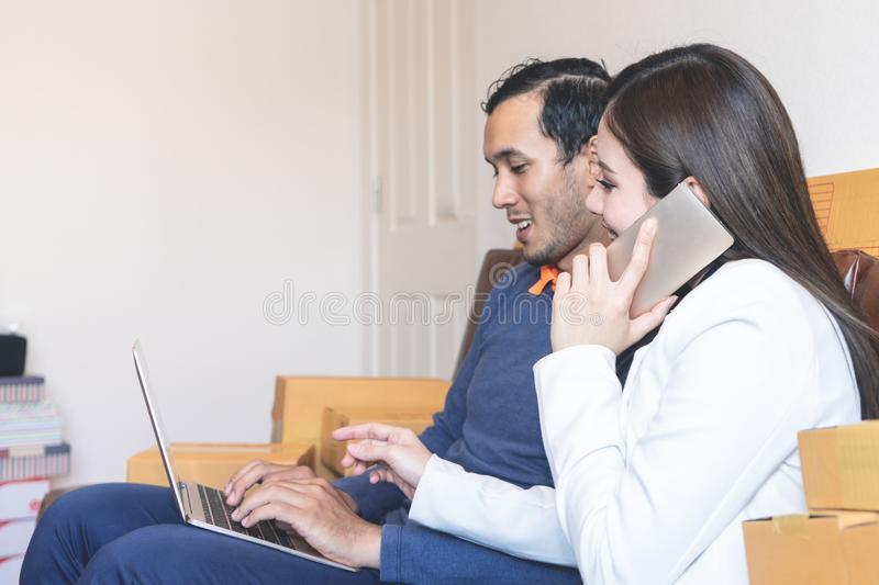 Business Couple working together at home royalty free stock photo