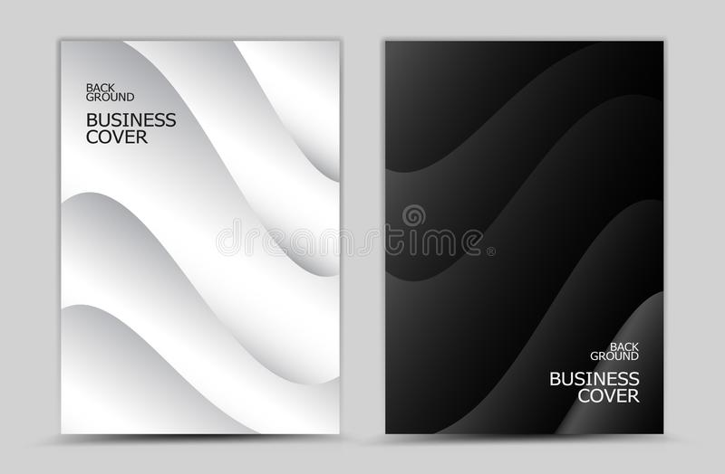 Business cover design, Black and white abstract background vector, Book cover, annual report, brochure flyer, web texture, graphic. Design template stock illustration