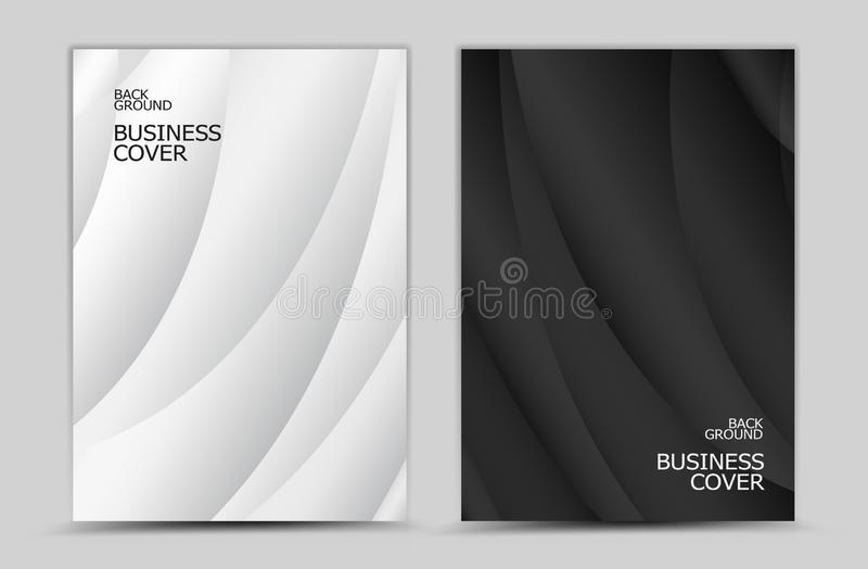Business cover design, Black and white abstract background vector, Book cover, annual report, brochure flyer, web texture, graphic. Design template royalty free illustration