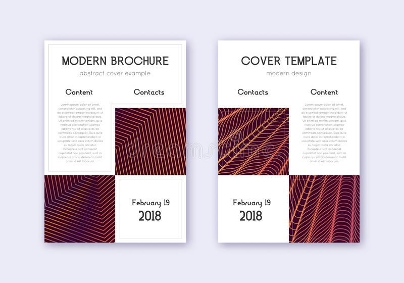 Business cover design template set. Orange abstrac. T lines on wine red background. Artistic cover design. Posh catalog, poster, book template etc royalty free illustration