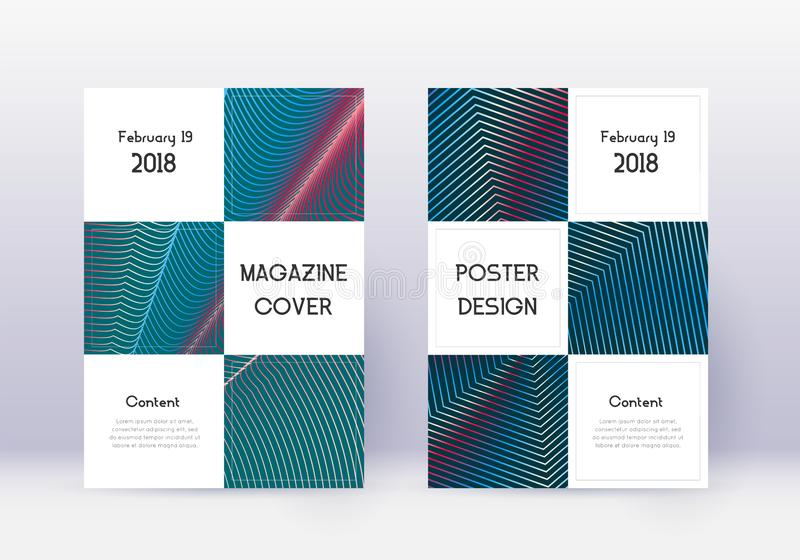 Business cover design template set. Red abstract lines on white blue background. Beauteous cover design. Decent catalog, poster, book template etc royalty free illustration