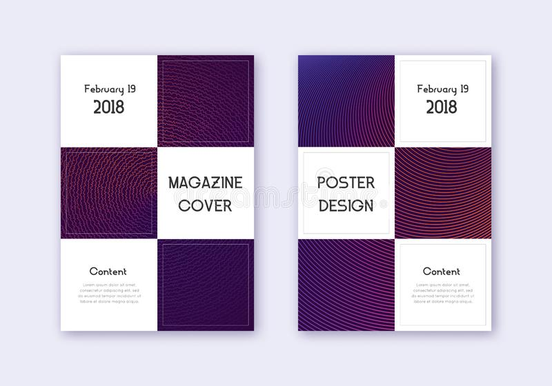 Business cover design template set. Violet abstrac. T lines on dark background. Beauteous cover design. Precious catalog, poster, book template etc royalty free illustration