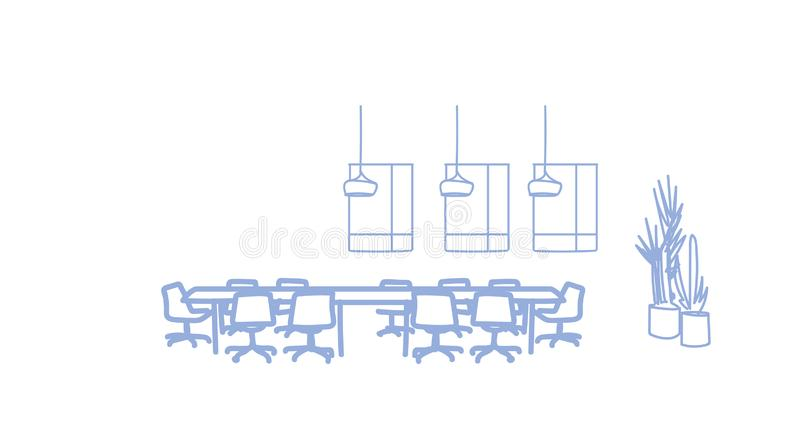 Business coworking open space modern conference hall round table for meeting office interior empty no people room sketch vector illustration