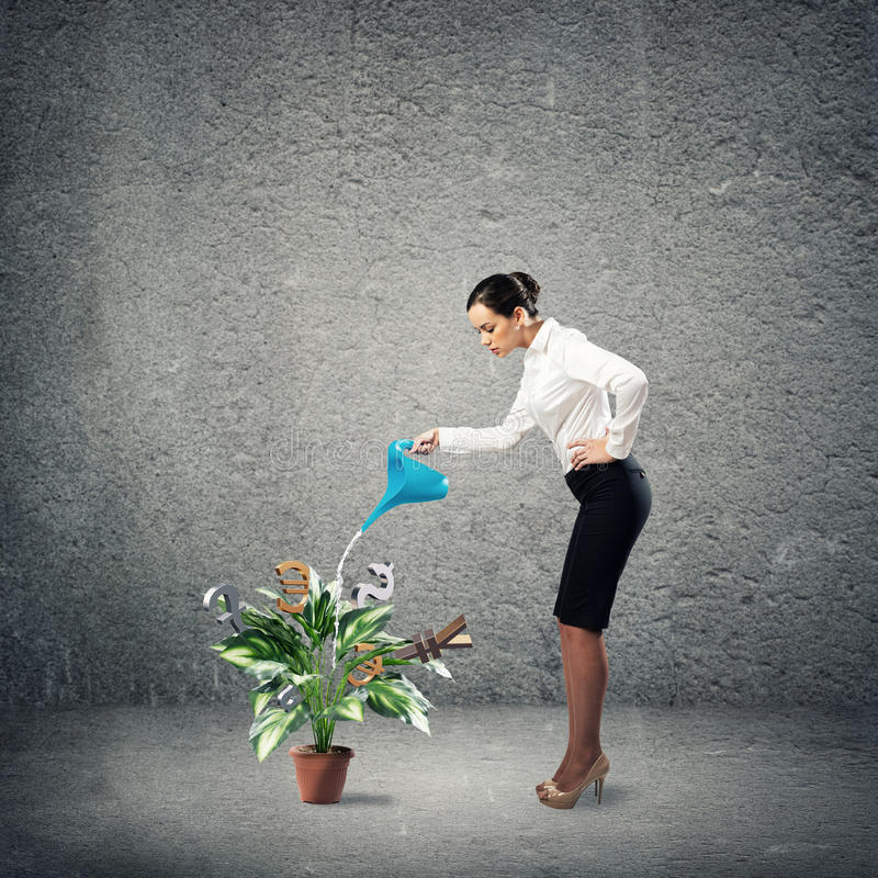 Business creation. Image of a businessman with a watering can stock images
