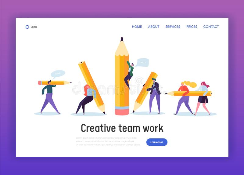 Business Creative Copywriter Teamwork Landing Page. Drawn People Holding Pencil. Blogger Work Goal. Education Job Leader stock illustration