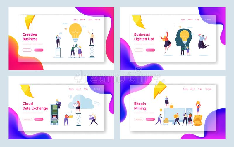 Business Creative Idea Character Concept Landing Page Set. Bitcoin Cryptocurrency Success People Teamwork. Startup Communication royalty free illustration