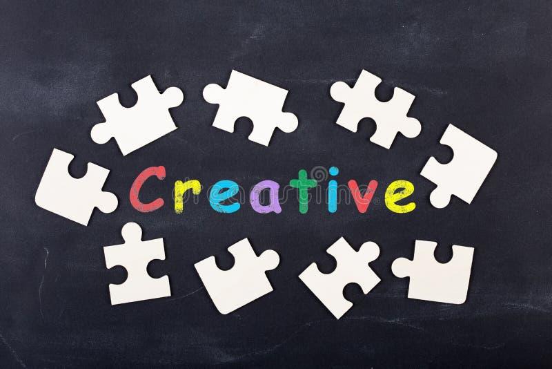 Business creative idea concept - inscription and jigsaw blocks on the blackboard. Bulb, strategy, market, education, chalkboard, background, theory, solution stock photos
