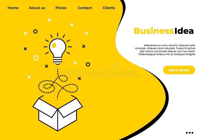Business creative idea landing page. Light bulb line concept. Vector template web design business concept company site stock illustration