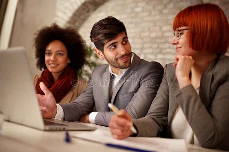 Business creative people having meeting with laptop royalty free stock images
