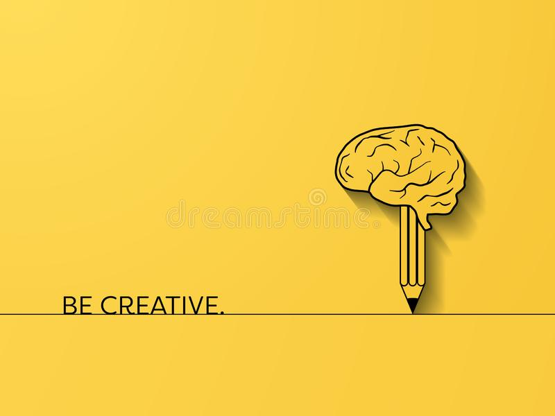 Business creativity and brainstorming vector concept with brain and pencil symbol. Creative process symbol. Eps10 illustration stock illustration