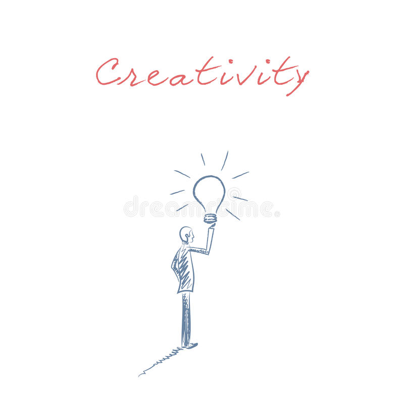 Business creativity hand drawn sketch vector with businessman holding lightbulb as a symbol of fresh, new, bright ideas vector illustration