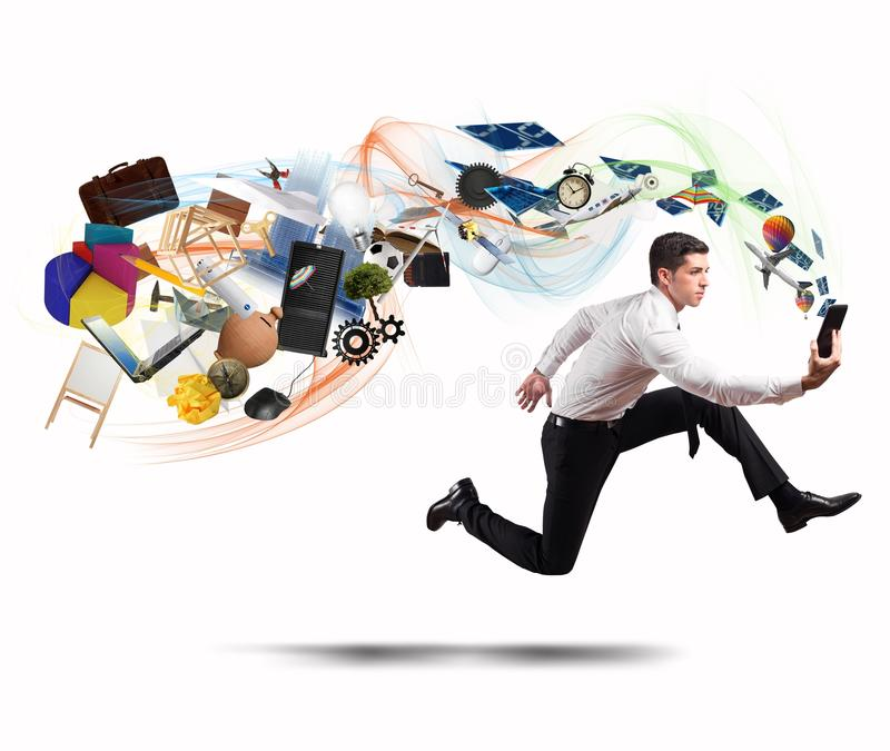 Business creativity with running businessman royalty free stock photos
