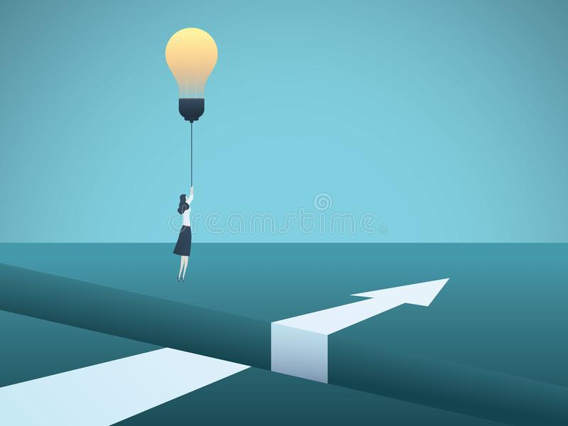 Business creativity vector concept with business woman flying over gap with lightbulb. Symbol of innovation, invention. Solution, breakthrough, ambition vector illustration
