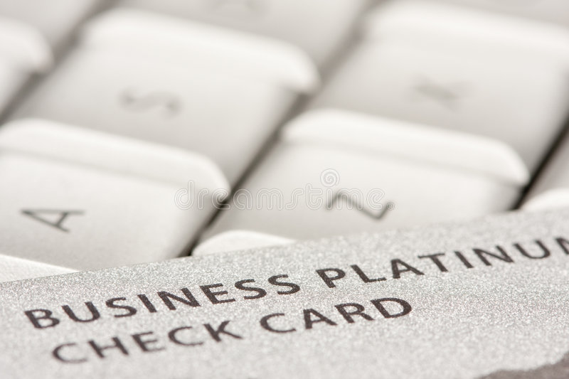 Business Credit Card On Laptop. With Narrow Depth of Field stock photography