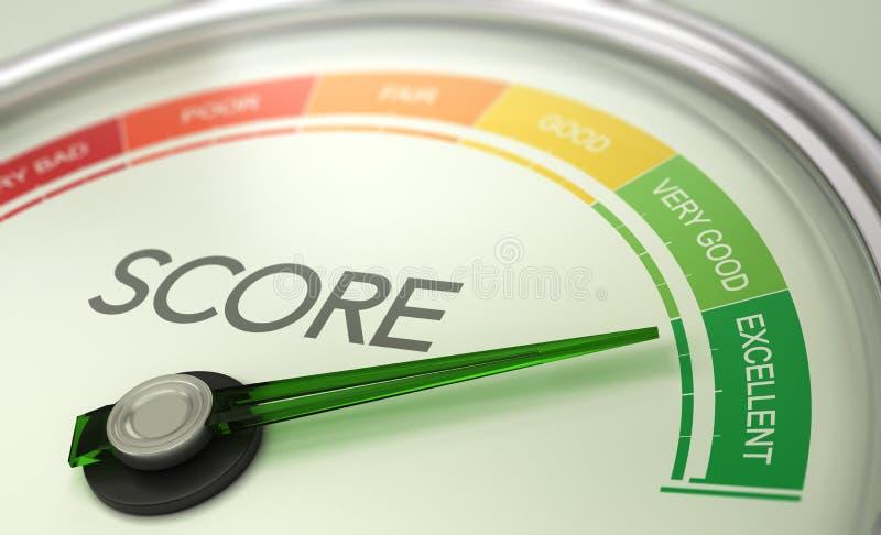 Business Credit Score Gauge Concept, Excellent Grade stock illustration