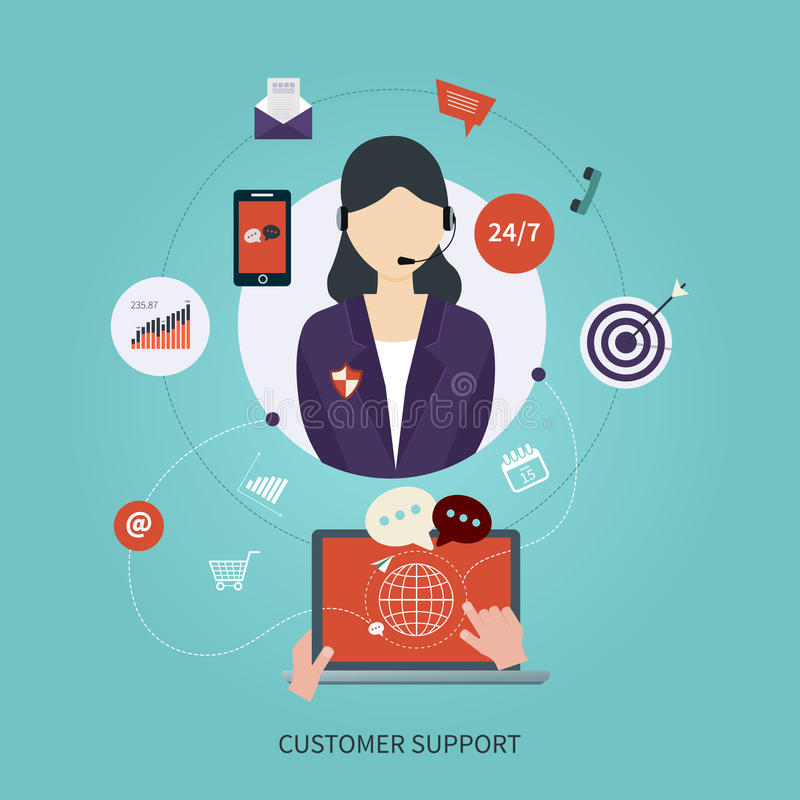 Business customer care service concept flat icons vector illustration