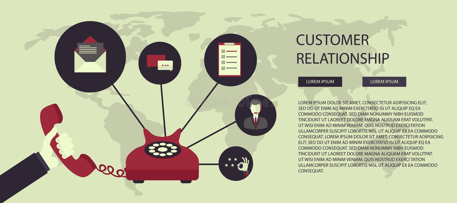 Business customer care service concept. Icons set of contact us, support, help, phone call and website click. Flat vector illustra stock illustration