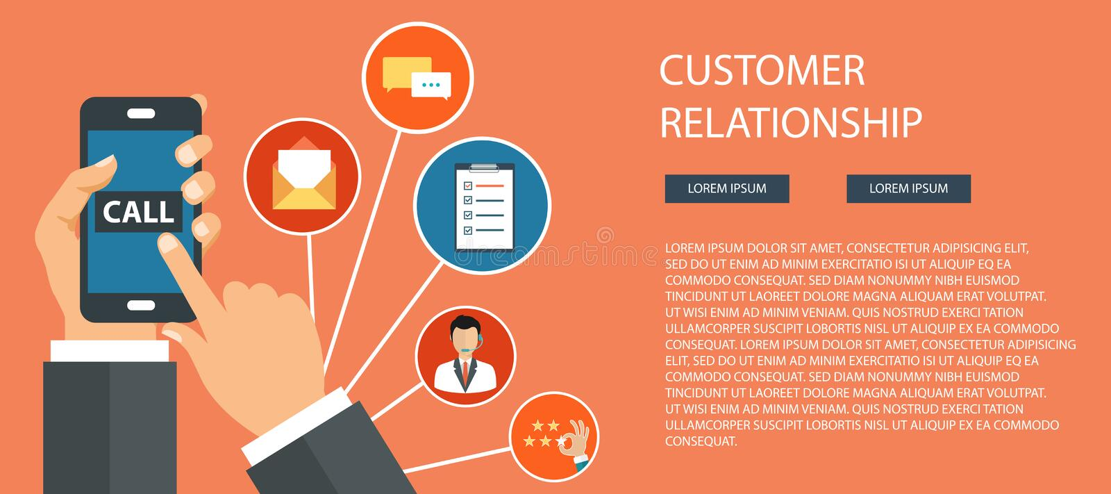 Business customer care service concept. Icons set of contact us, support, help, phone call and website click. Man sitting on the f. Loor and holding lap top with royalty free illustration