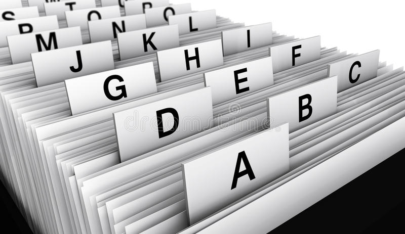 Business Customer File Directory. Business concept with a 3d rendering close-up view of a office customers directory archive with alphabet letters stock photos