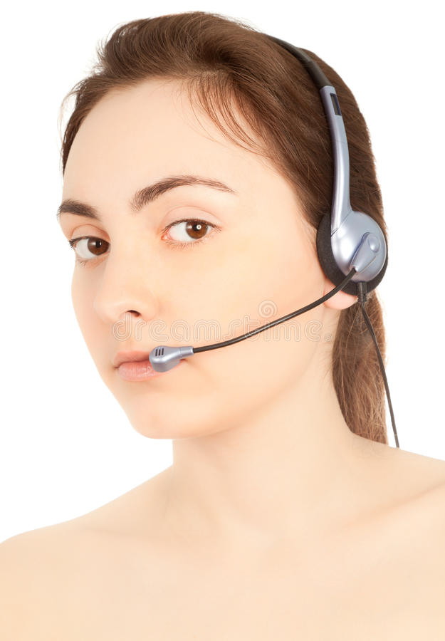 Business customer service woman. Smiling isolated on white royalty free stock photography