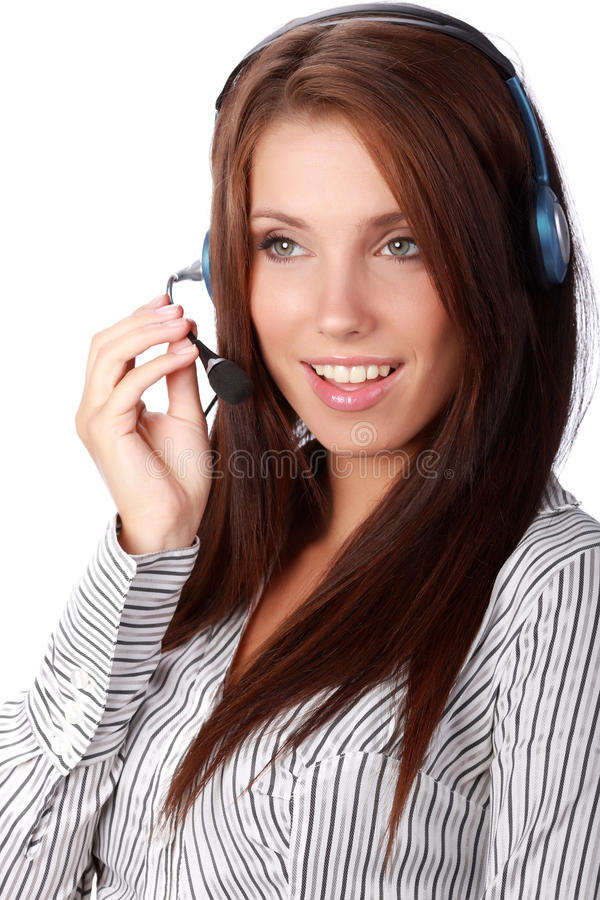 Business customer support operator. Woman smiling - isolated royalty free stock image