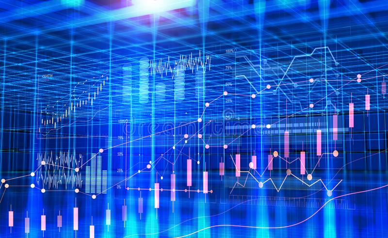 Business in cyberspace. Data analysis. Graphs and charts of the dynamics of development stock illustration