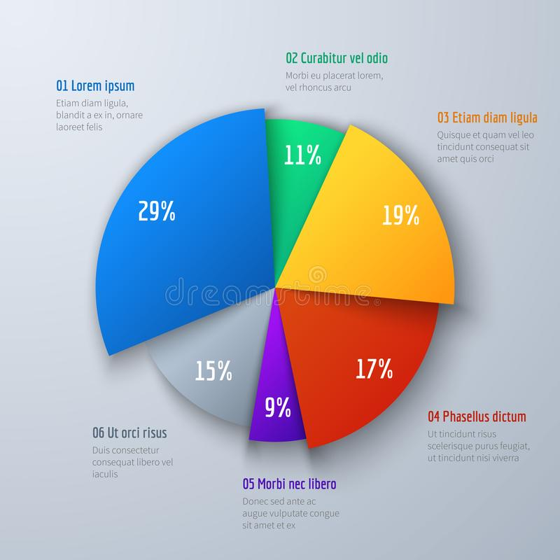Business 3d pie info chart for presentation and office work. Infographic vector element royalty free illustration