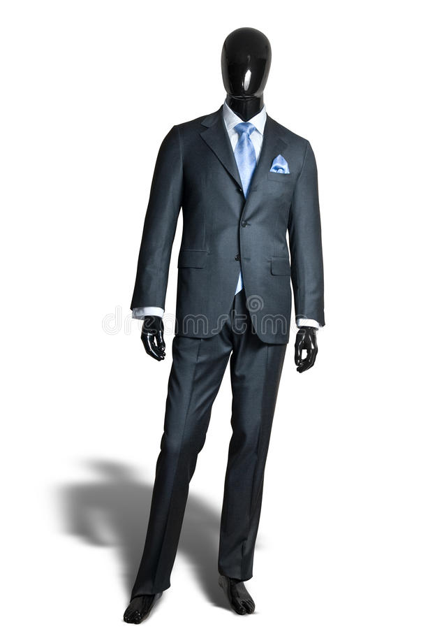 Business dark grey suite on mannequin stock photos
