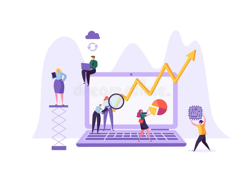 Business Data Analysis Concept. Marketing Strategy, Analytics with People Characters Analyzing Financial Statistics Data. Charts on Laptop. Vector illustration stock illustration