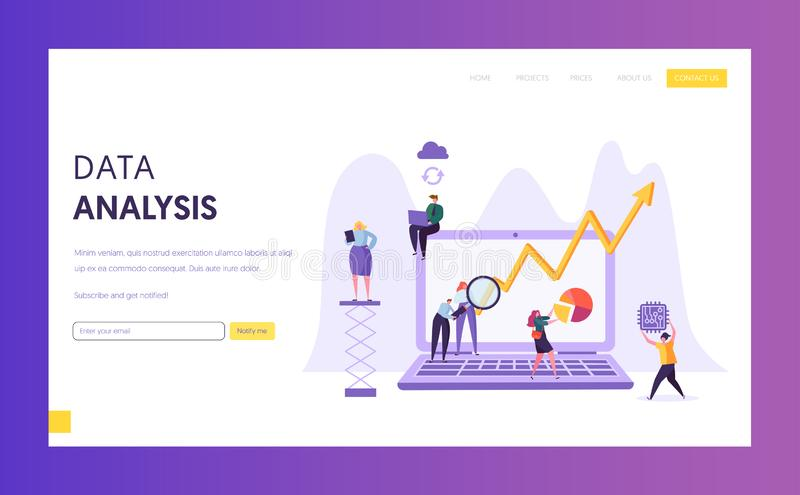 Business Data Analysis Research Landing Page. Marketing Strategy Development with People Character Analyzing Plan Chart vector illustration