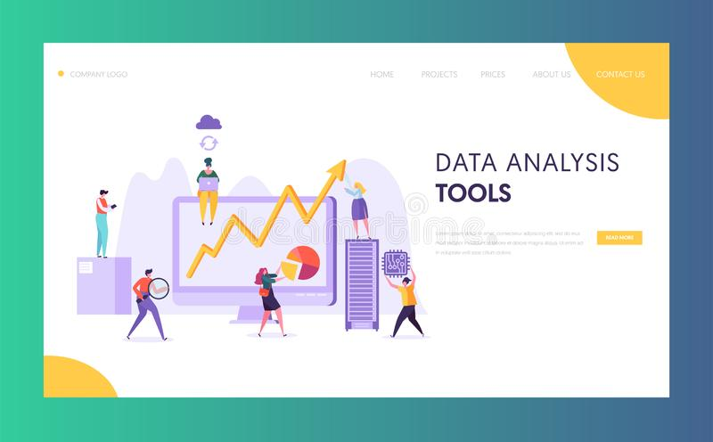 Business Data Analysis Software Landing Page. Marketing Strategy Development for Market Analyzing by Creative Character vector illustration