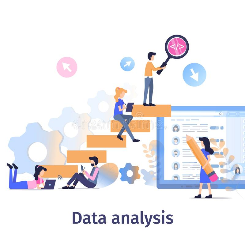 Business Data Analysis Teamwork Strategy Growth royalty free illustration