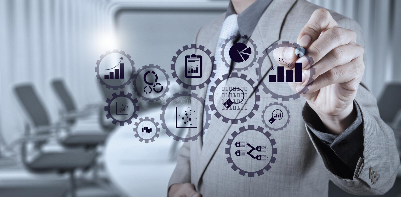 Business data analytics management with connected gear cogs with KPI financial charts stock photos
