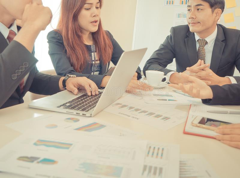 Business Data Chart report on meeting table stock photography