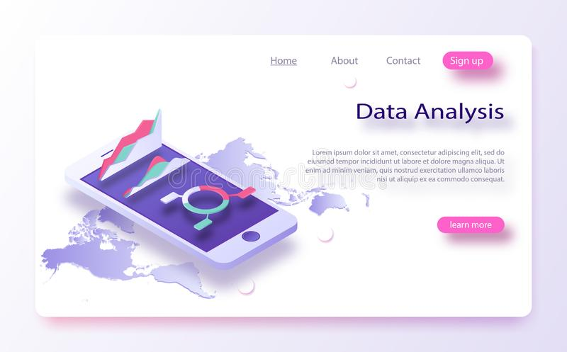 Business and data charts, incoming information isometric. Data analysis, infromation searchning, data center query stock illustration