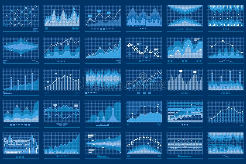 Business Data Financial Charts Blue Banner royalty free illustration