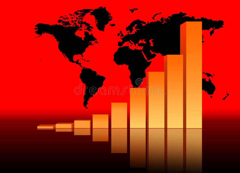 Business Data Graph. Increasing Bar Chart - Business Data Graph With World Map royalty free illustration