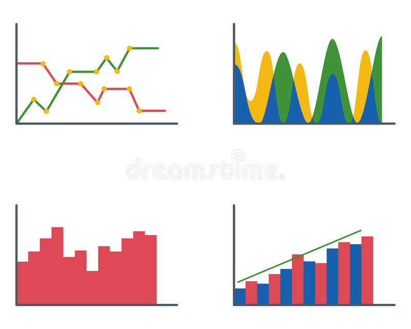 Business data graph analytics elements bar pie charts diagrams and flat icon infographics design isolated presentation vector illustration