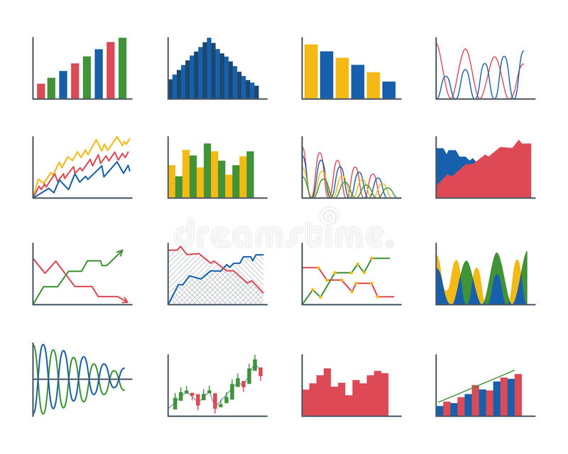 Business data graph analytics elements bar pie charts diagrams and flat icon infographics design isolated presentation royalty free illustration
