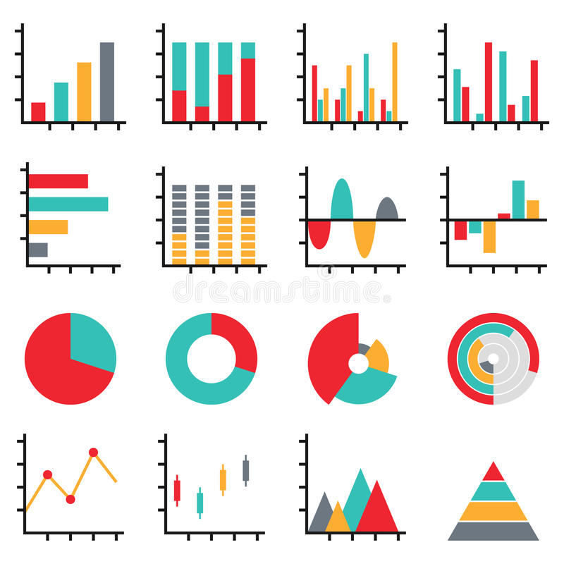 Business data graph diagram element. Set of business data graph diagram element, pie, bar, line chart icon information for infographics stock illustration
