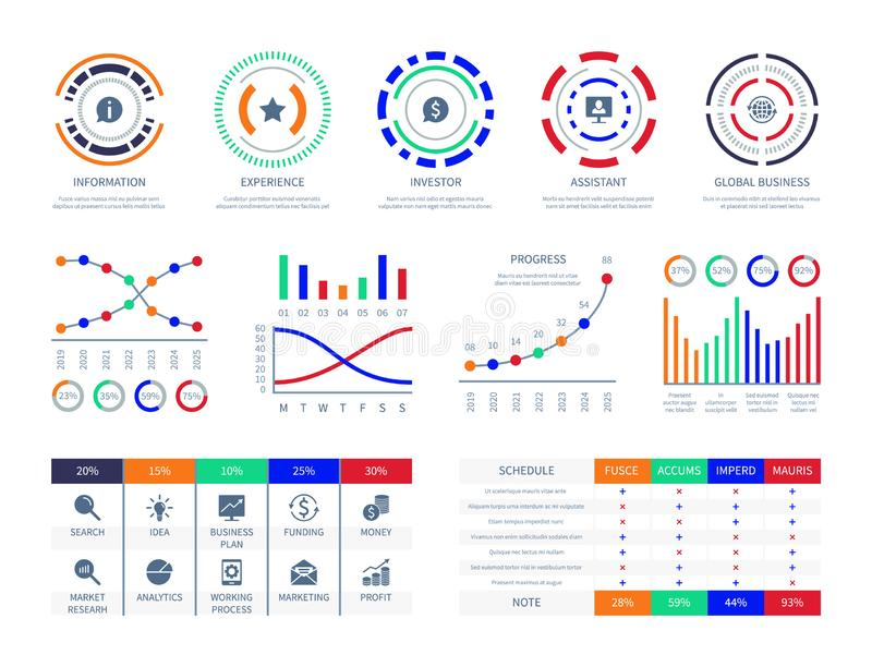 Business data graphs financial marketing charts dashboard infographic hud chart connection analysis illustration vector illustration