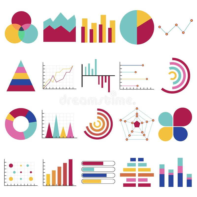 Business data graphs. Financial and marketing charts. Market elements dot bar pie charts diagrams and graphs. Business vector illustration