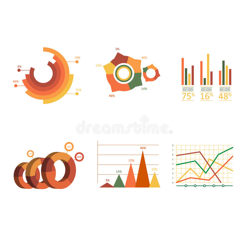 Business data market elements dot bar pie charts vector illustration