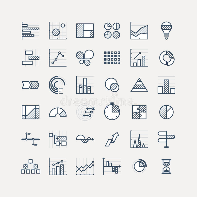 Business data market elements dot pie bar charts diagrams and graphs flat icons set. Statistic and data, information royalty free stock photos