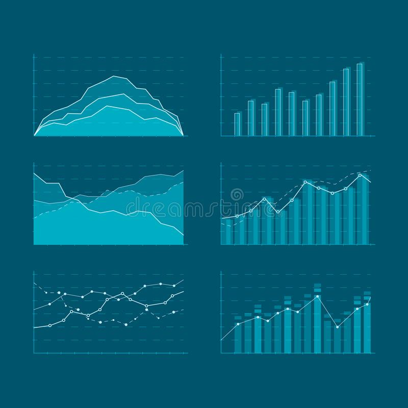 Business data market elements. Template diagrams and graphs flat icons set. Elements for HUD concept. Vector illustration isolated stock illustration