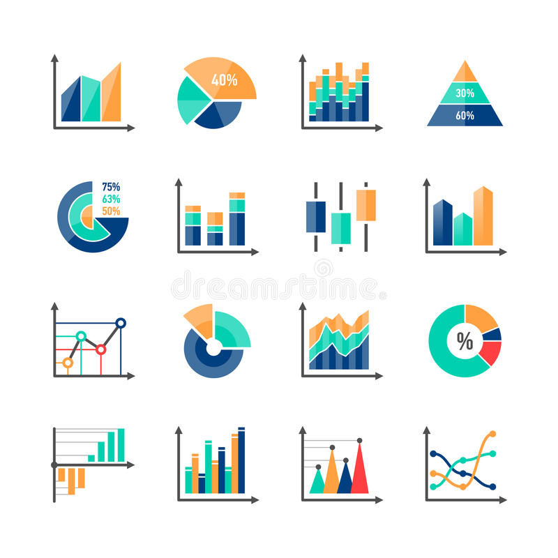 Business data market infographic elements stock illustration