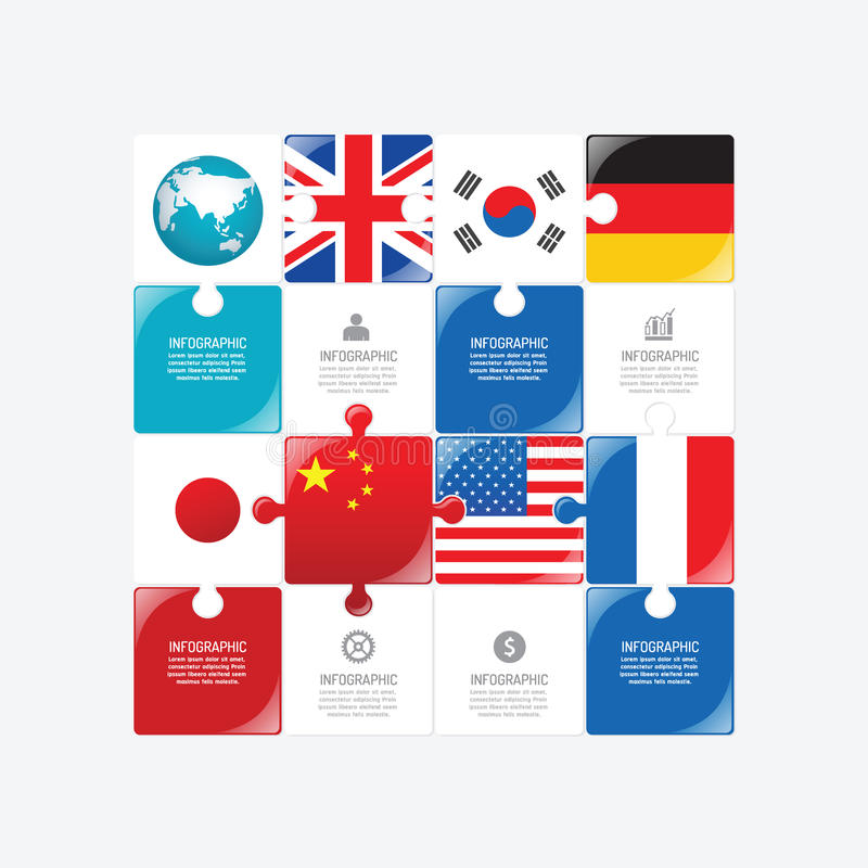 Business data process chart. Abstract elements of jigsaw concept. With icons. Vector illustration world business and finance infographics design template for stock illustration