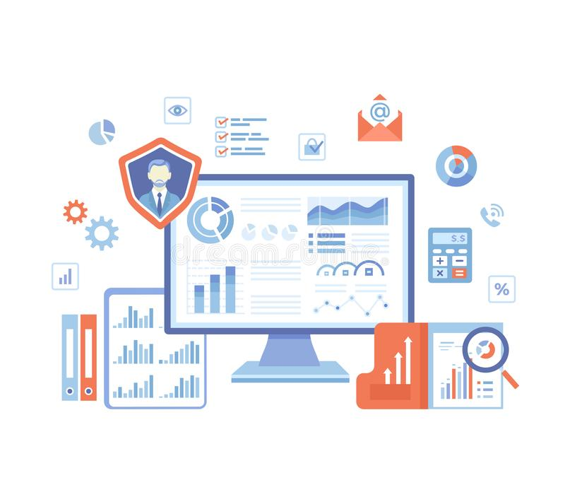 Business Data Reporting, Consulting, Analytics, Credit report, Accounting. Graphs and charts on the monitor screen, documents. Folders. Business banner. Vector stock illustration