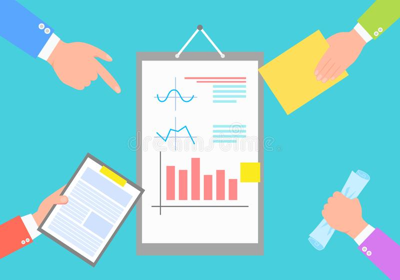 Business Data Statistics, Chart and Plots Images. Isolated on blue vector illustration of report surrounded by human hands with papers and documents vector illustration